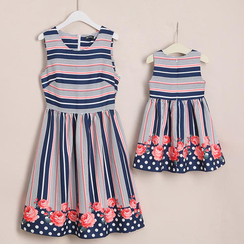 Mom Girl Stripes Flower Prints Matching Dress - yoyosfashion