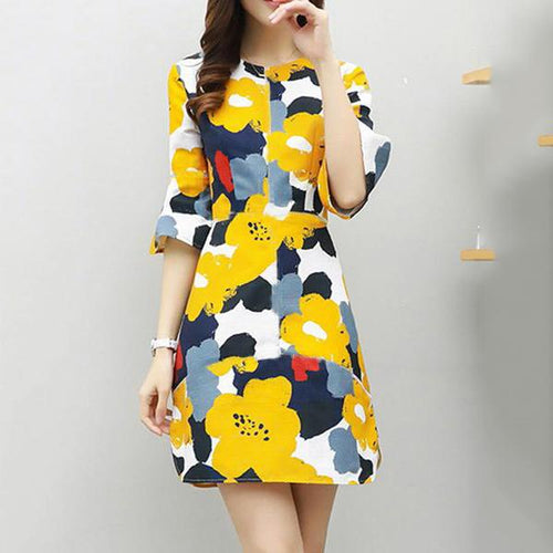 Round Neck  Patchwork  Floral Printed  Bell Sleeve Shift Dress - yoyosfashion