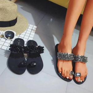 Plain  Flat  Peep Toe  Beach Casual Slippers - yoyosfashion