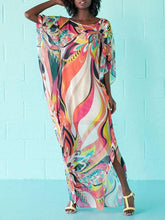 Load image into Gallery viewer, Folk-Custom Round Collar Printing Split Maxi Vacation Dress - yoyosfashion