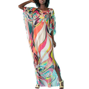 Folk-Custom Round Collar Printing Split Maxi Vacation Dress - yoyosfashion