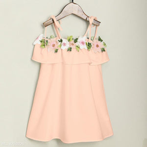 Mom Girl Flower Decorated Matching Dress - yoyosfashion