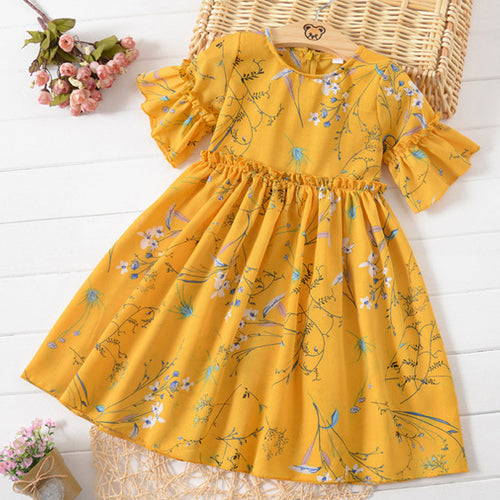 Floral Print Trumpet Sleeve Round Neck Dress - yoyosfashion