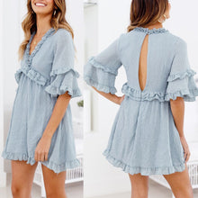 Load image into Gallery viewer, Sexy Light Blue V Neck Short Sleeves Mini Dress - yoyosfashion