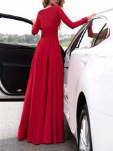 Load image into Gallery viewer, Maxi Dress Long Dress V-Neck Long Sleevethe Sides Split for Party - yoyosfashion