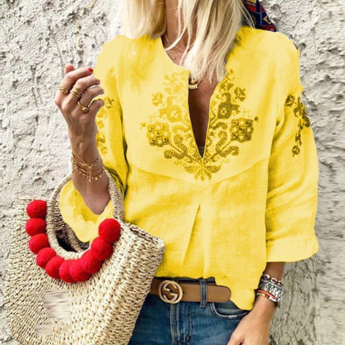 V Neck Printed Ruffles Casual Blouse - yoyosfashion