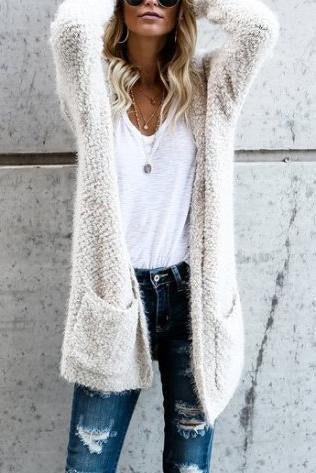 Fluffy  Long Sleeve Cardigans - yoyosfashion