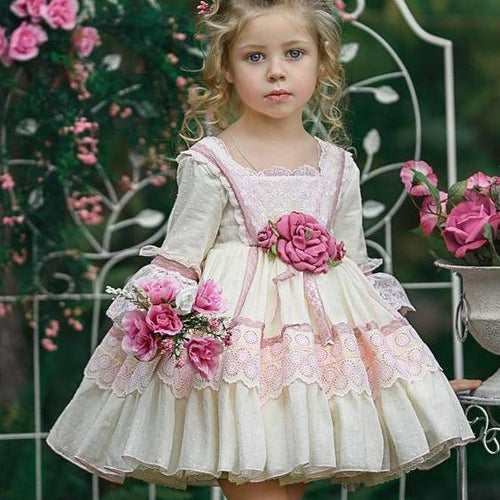 Flower Lace Long Sleeve Tiered Princess  Dress - yoyosfashion