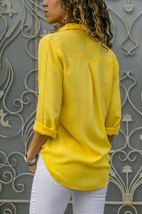 Turn Down Collar  Single Breasted  Plain  Blouses - yoyosfashion