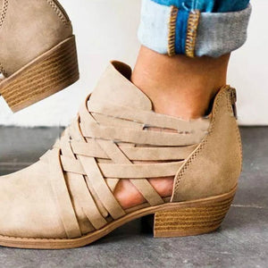 Plain  Chunky  Mid Heeled  Round Toe  Outdoor Ankle Boots - yoyosfashion