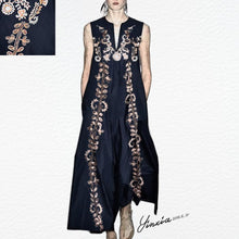 Load image into Gallery viewer, Cotton/Linen V-Neck Vintage Printed Pocket Maxi Dress - yoyosfashion