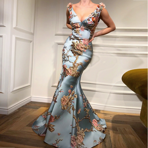 Sexy Deep V Collar Embroidery Floral Printed Fishtail Maxi Dress - yoyosfashion