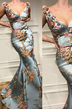 Load image into Gallery viewer, Sexy Deep V Collar Embroidery Floral Printed Fishtail Maxi Dress - yoyosfashion