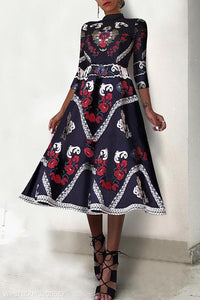 Fashion Elegant Ethnic Style Floral Printed Maxi Dress - yoyosfashion