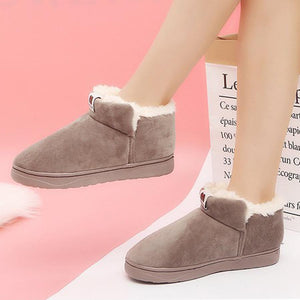 Plain  Flat  Velvet  Round Toe  Casual Ankle Boots - yoyosfashion