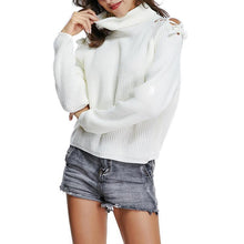 Load image into Gallery viewer, Turtle Neck Long Lantern Sleeve Hollow Out Sweaters - yoyosfashion