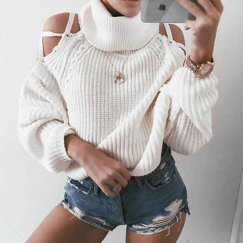 Turtle Neck Long Lantern Sleeve Hollow Out Sweaters - yoyosfashion