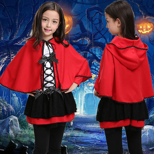 Fashion Hallowmas Nifty Lovely Color Block Bowknot Cape Long Sleeve Kid Dress - yoyosfashion
