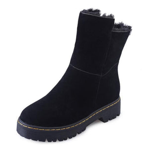 Plain  Low Heeled  Velvet  Round Toe  Casual Outdoor Flat Boots - yoyosfashion