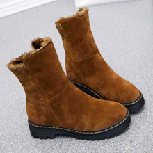 Load image into Gallery viewer, Plain  Low Heeled  Velvet  Round Toe  Casual Outdoor Flat Boots - yoyosfashion