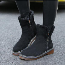 Load image into Gallery viewer, Large Size Plain Flat Warm Boots Round Toe Zipper Snow Boots - yoyosfashion