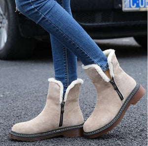 Large Size Plain Flat Warm Boots Round Toe Zipper Snow Boots - yoyosfashion