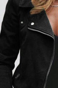 Fold Over Collar  Zipper  Plain Jackets - yoyosfashion