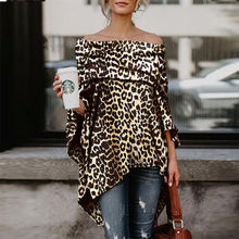 Load image into Gallery viewer, T-Shirts Off Shoulder Long Sleeves  Leopard Printed Asymmetric - yoyosfashion