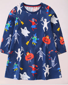 Lovely Halloween Floral Printed Dress - yoyosfashion