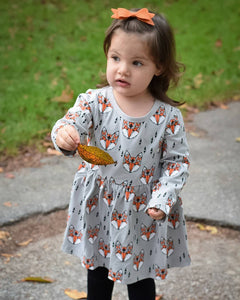 Lovely Round Collar Fox Printed Dress - yoyosfashion