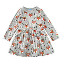 Load image into Gallery viewer, Lovely Round Collar Fox Printed Dress - yoyosfashion