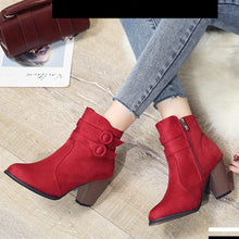 Load image into Gallery viewer, Plain  Chunky  High Heeled  Velvet  Round Toe  Date Outdoor  Short High Heels Boots - yoyosfashion