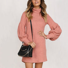 Load image into Gallery viewer, Fashion Turtleneck Sweater Puff Sleeve Casual Dress - yoyosfashion