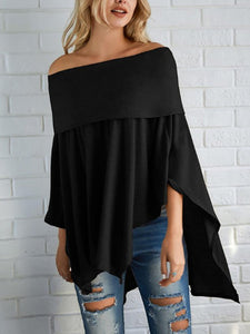 Off Shoulder  Asymmetric Hem Cutout  Curved Hem Smocked Bodice  Plain  Batwing Sleeve Long Sleeve T-Shirts - yoyosfashion