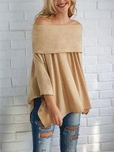 Load image into Gallery viewer, Off Shoulder  Asymmetric Hem Cutout  Curved Hem Smocked Bodice  Plain  Batwing Sleeve Long Sleeve T-Shirts - yoyosfashion