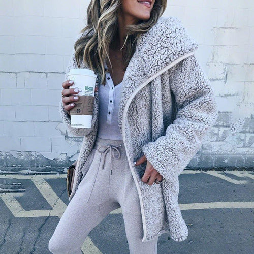 Hooded Long Sleeve Fur Cardigans - yoyosfashion