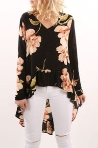 Sexy V-Neck Black Flower Long-Sleeved Irregular Top - yoyosfashion