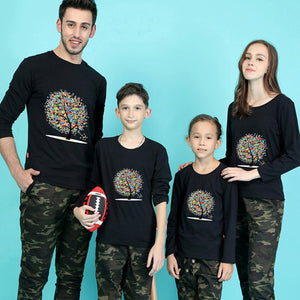 Family Cute Casual Slim Print Long Sleeve Top Matching Outfit - yoyosfashion