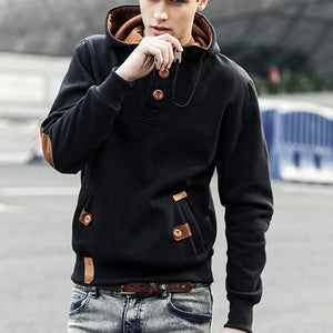 Mens Plain Pullover Button Hoodie - yoyosfashion