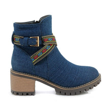 Load image into Gallery viewer, Plain  High Heeled  Round Toe  Casual Outdoor  Short High Heels Boots - yoyosfashion