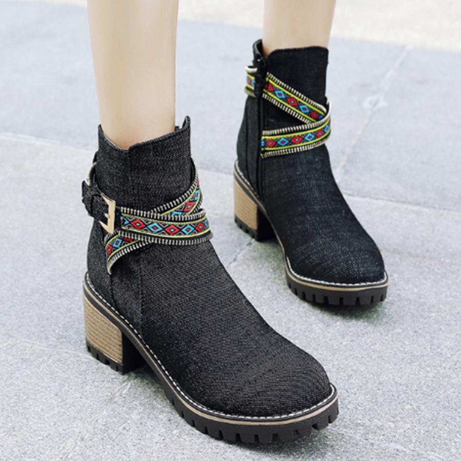 Plain  High Heeled  Round Toe  Casual Outdoor  Short High Heels Boots - yoyosfashion