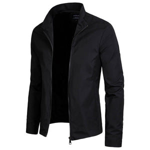 Fashion Lapel Collar Plain Zipper Jacket - yoyosfashion