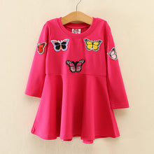 Load image into Gallery viewer, Mom Girl Butterfly Printed Round Collar Dress - yoyosfashion