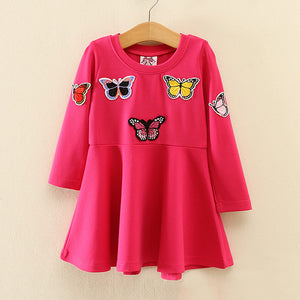 Mom Girl Butterfly Printed Round Collar Dress - yoyosfashion