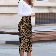 Load image into Gallery viewer, Bodycon Dress Long Sleeve Leopard Print V Neck Formal Dress - yoyosfashion