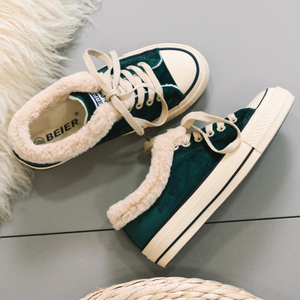 Women Fur Lace-Up Warm Canvas Shoes & Casuals - yoyosfashion