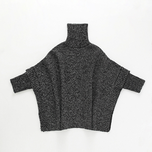 Mon Girl Fashion High Collar Plain Bat Wing Sleeve Knit Shirt - yoyosfashion