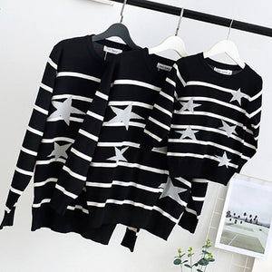 Fashion Round Collar Stripe Stars Sweater Family Suit - yoyosfashion