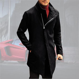 Gentle Business Fashion Slim Plain Zipper Long Sleeve Men Coat Outerwear - yoyosfashion