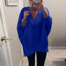 Load image into Gallery viewer, V Neck Long Sleeve Plain Loose Casual T-Shirts - yoyosfashion